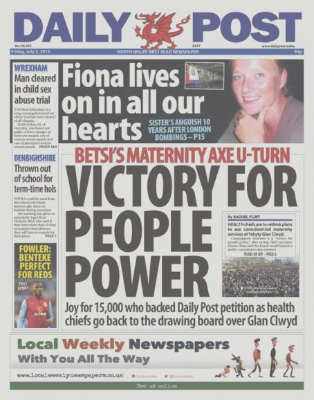 Victory for the campaign was declared on the front page of Friday's Daily Post