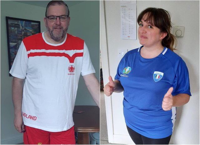 Darren and Giulia sporting their respective nations' colours