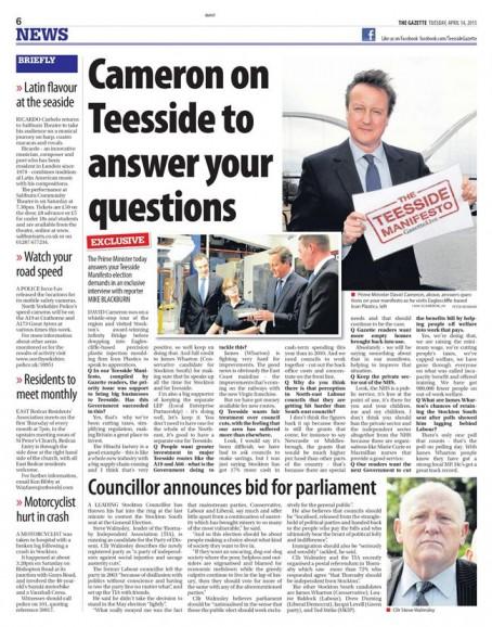 David Cameron Teesside