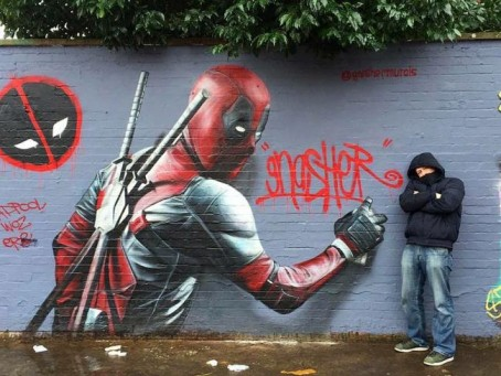 David Nash with his artwork of comic character Deadpool