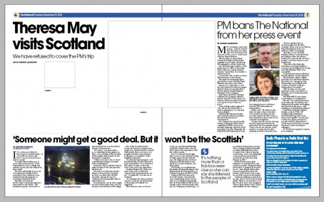 The double-page spread where a report on the May visit was replaced by white space