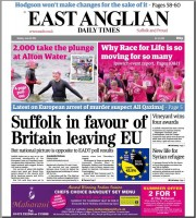 The front page of Monday's EADT