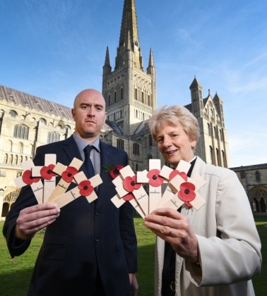 Dean of Norwich Jane Hedges with EDP editor David Powles at Norwich Cathedral