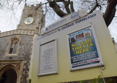 One of the EDP's posters on display outside a church in Norwich