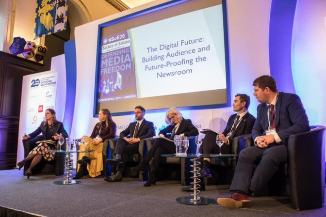 James Mitchinson, on the right, takes part in the panel discussion at the SoE conference