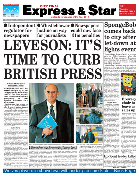 Regional Daily First With News Of Leveson Report  Journalism News