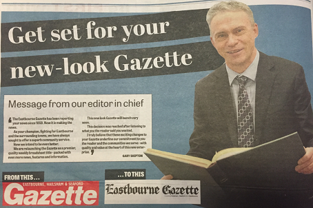Gazette editor-in-chief Gary Shipton has told readers about its new look and shown them its new masthead.