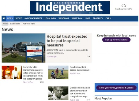 A screenshot from the Eastbourne Independent's counterpart website