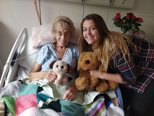 Ellie, right, with grandmother Irene Morris