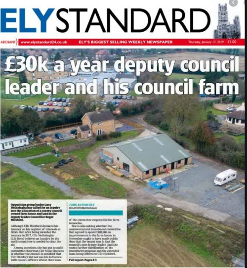 How the issue was first covered by the Ely Standard