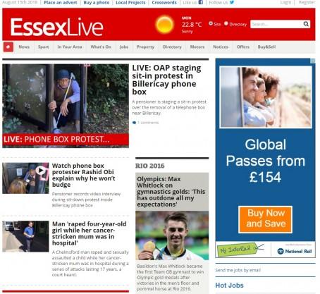 A screenshot of the Essex Live website