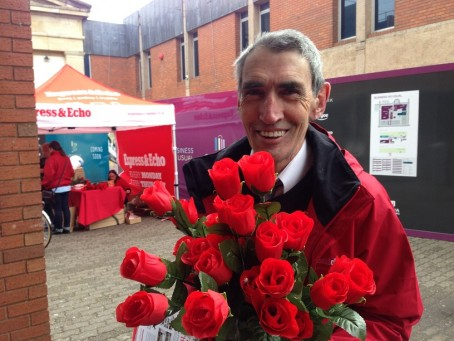 David Byrne, who has worked at the Express and Echo since 1978, was among those handing out roses to readers