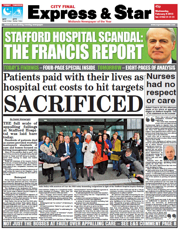 Express Amp Star Stafford Hospital On The Day Holdthefrontpage