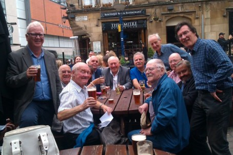 John Bean, second from left, at a Daily Express reunion. Credit: SJA