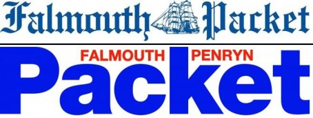 The Packet's traditional pre-2004 masthead, above, and post-2004 masthead, below