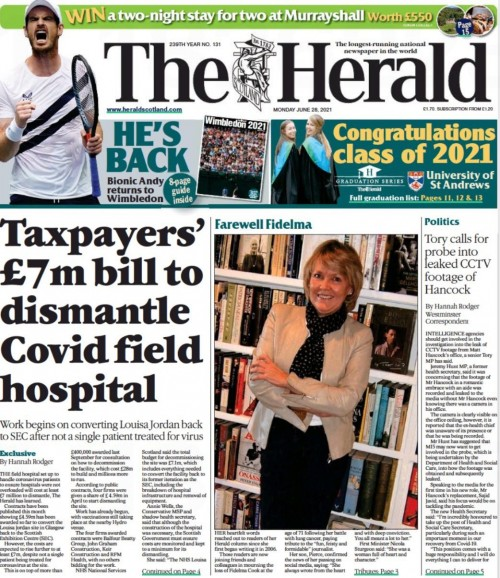 Fidelma's image featured on the front page of The Herald yesterday