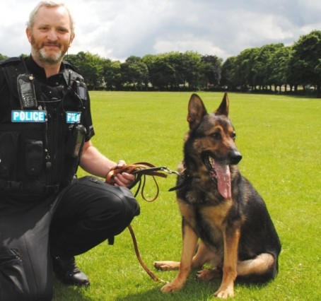PD Finn with his handler PC Dave Wardell