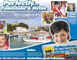 The promotional wrap for the Folkestone & Hythe Express