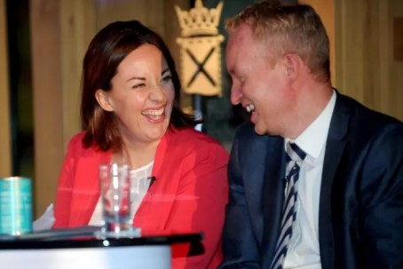 Scotsman editor Frank O'Donnell with Kezia Dugdale at the celebration