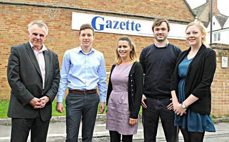 Gloucestershire Gazette journalists, from left, Gary Baker, Josh Wright, Ali Womack, Stuart Rust and Bethany Wash are pictured outside their Dursley office which they are leaving.