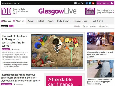 A test screenshot of the new Glasgow Live website