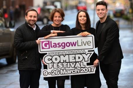 From left: Glasgow Live editor Gregor Kyle, Linda Allan of the Comedy Festival, Glasgow Live reporter Becky Parker and comedian Des Clarke