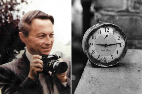 Godfrey Harris, left, and his 'stopped clock' photo taken in the aftermath of the Aberfan disaster