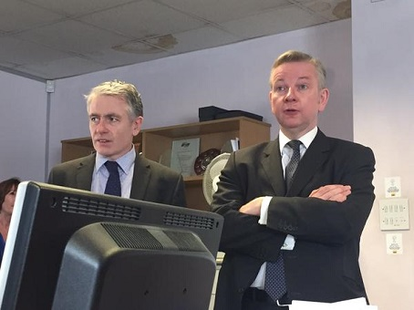 Chief whip Michael Gove, right, is pictured with Medway Messenger editor Bob Bounds on a visit to the newspaper's office.