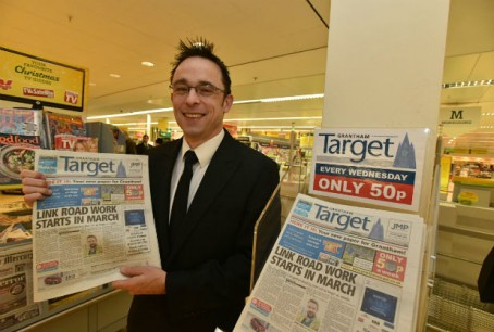 Editor Adam Moss with the launch edition of the Grantham Target in January 2015