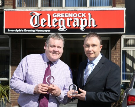George Munro, left, and Brian Hossack with their awards