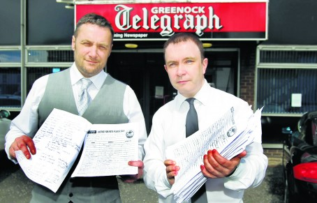 Telegraph reporter David Goodwin, left, and editor Brian Hossack with the petition