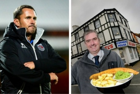 Former Grimsby Town manager Paul Hurst, left, and Steel's Cornerhouse co-owner Ian Stead