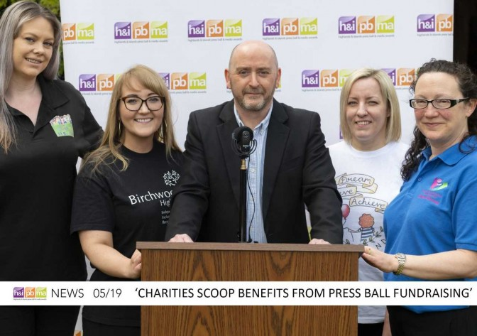 Highlands and Islands Press Ball chairman John Ross announces the charity donation with, from left to right: Kerry Maxwell (Friends of Autism Highland); Mairi Macdonald (Birchwood Highland); Lynda Fraser (Dream, Believe, Achieve Highland) and Rosie Jardine (Elsie Normington Foundation)
