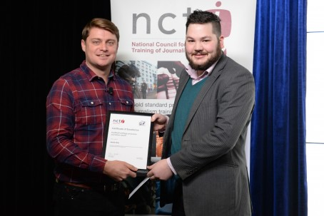 James Gray, right, is presented with the HTFP production journalism award by Matt Cooke, Google News Lab lead for the UK, Ireland and the Nordics