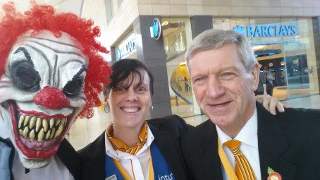 Chris, pictured left in the mask, with two intu shopping centre workers