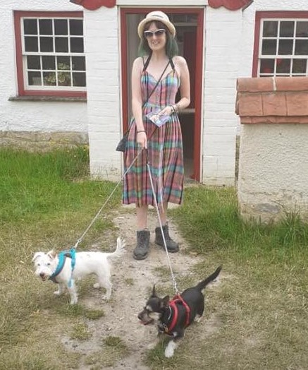 Hayley with dogs Lem and Ness
