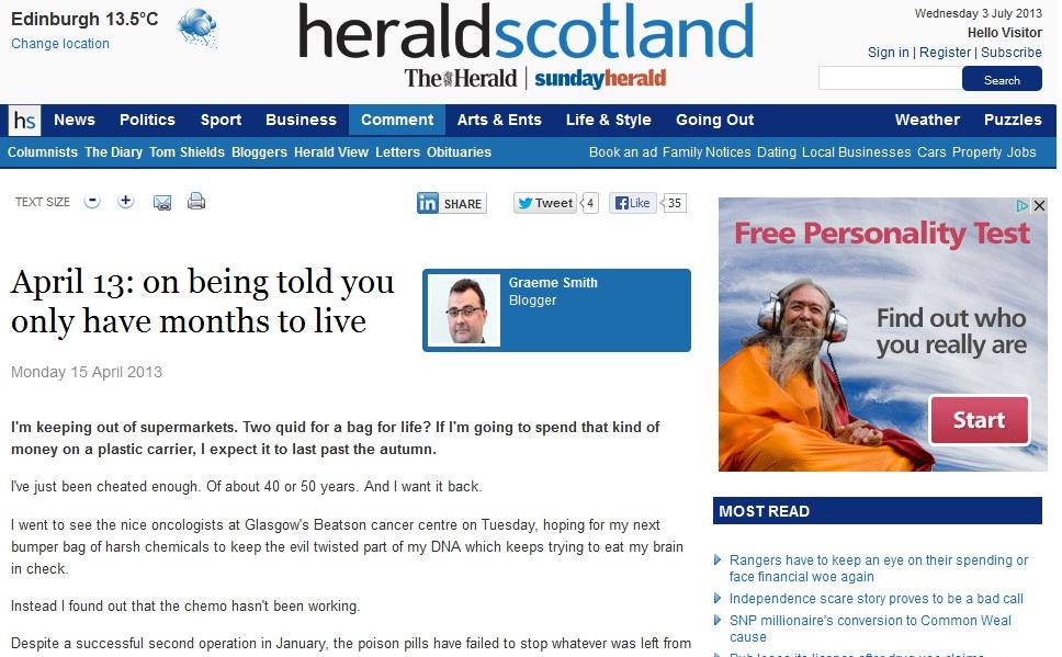 Herald Scotland online dating blogi