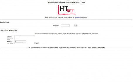 How the website of the Hinckley times looked in 1996