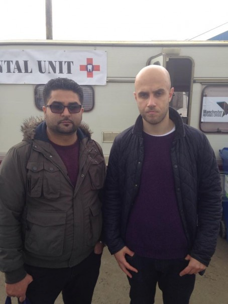 Tareq, pictured right, in Calais with Alan Ahmad, from Hull Help for Refugees