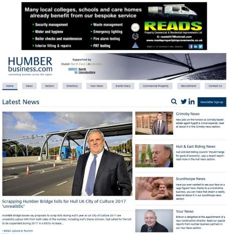 The HumberBusiness.com homepage