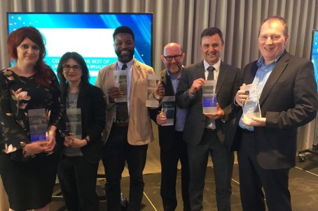 Manchester Evening News staff including editor Darren Thwaites (second right) celebrate a clutch of Regjonal Press Awards in May