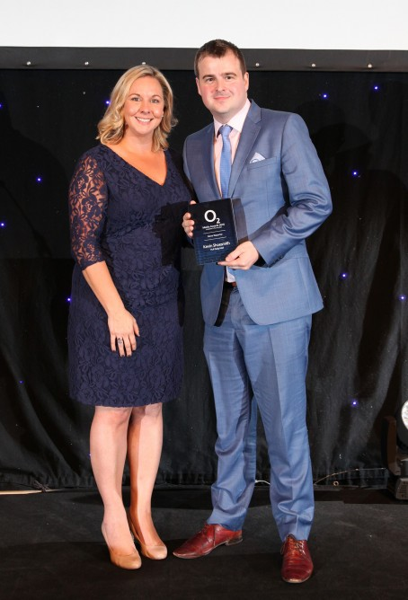 Kevin Shoesmith of the Hull Daily Mail was named both News Reporter and Feature Writer of the Year. He received his news award from Jo Challoner from O2