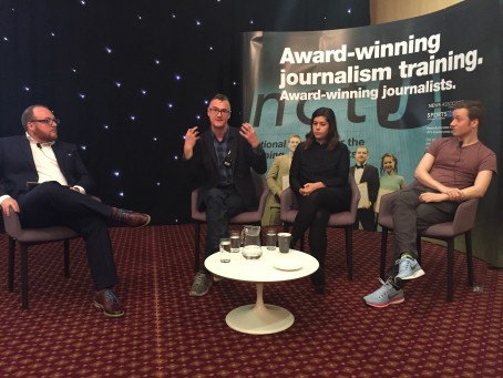 anel session pictured is 'Investigative Journalism' and on the pic from left to right as follows:   Andrew Greaves (News Associates), Meirion Jones (Bureau of Investigative Journalism), Jane Bradley (BuzzFeed), Matt Burgess (Wired & FOI Directory).