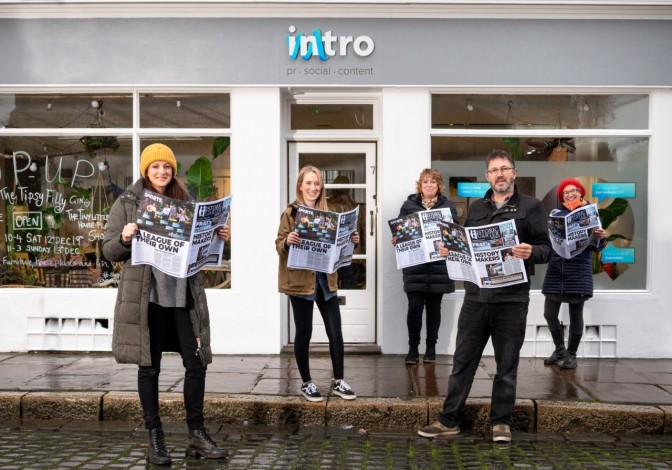 Some of the Intro team with the Historic Quarter News. From left: Sally Edgar, Helen Statham, Mandy Norwood, Nick Turner and Georgina Harland