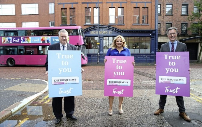 From left: Irish News business editor Gary McDonald, security correspondent Allison Morris and marketing managing John Brolly launch the new campaign