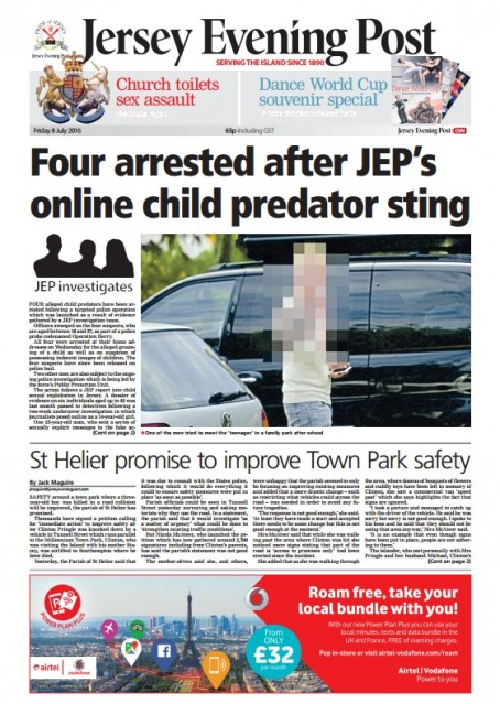 The front page of Friday's edition of the JEP