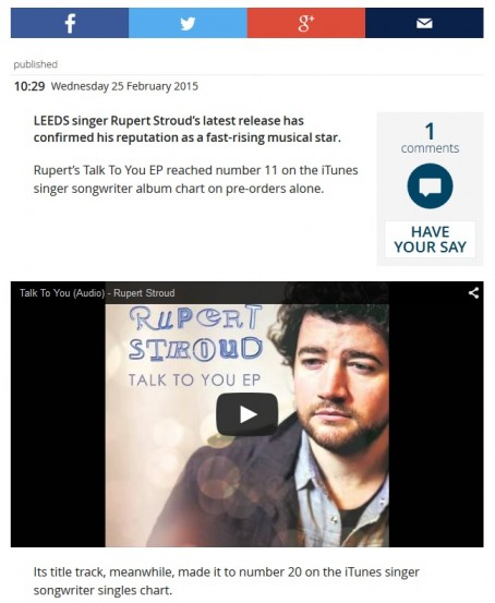 The social media sharing toolbar and an embedded YouTube video on the Yorkshire Evening Post's website