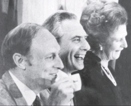 Jack, pictured centre, flanked by Neil Kinnock and Margaret Thatcher