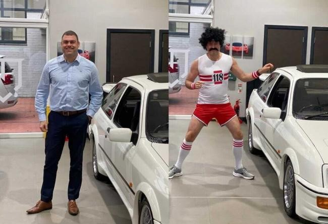 James pictured before and after his fancy dress transformation