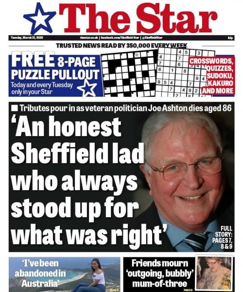 The Star splashed on Mr Ashron's death on Tuesday